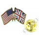 USA And Great Britain Friendship Flag Lapel Pin Badge (Metal / Enamel)